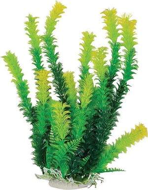 Bushy Faux Aquarium Plant 16in Green/Yellow Recommended Background Plant