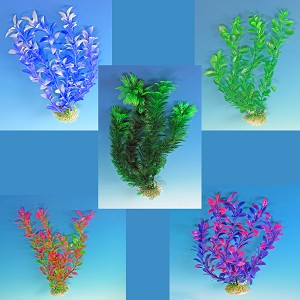 Faux Aquarium Plants (5pk) 13 in Tall, Variety Colors/Variety Shapes Easy Install